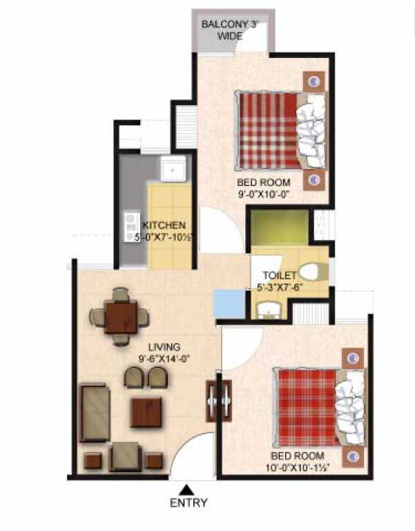 2 bhk 650 sq ft floor plan